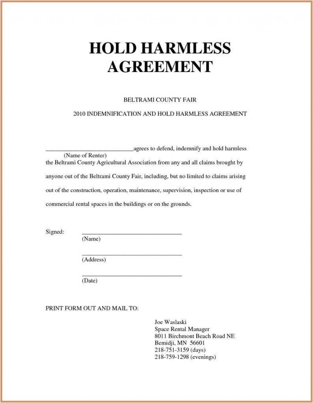 007 Dreaded Hold Harmles Agreement Template Design  Canada Word Free DownloadLarge