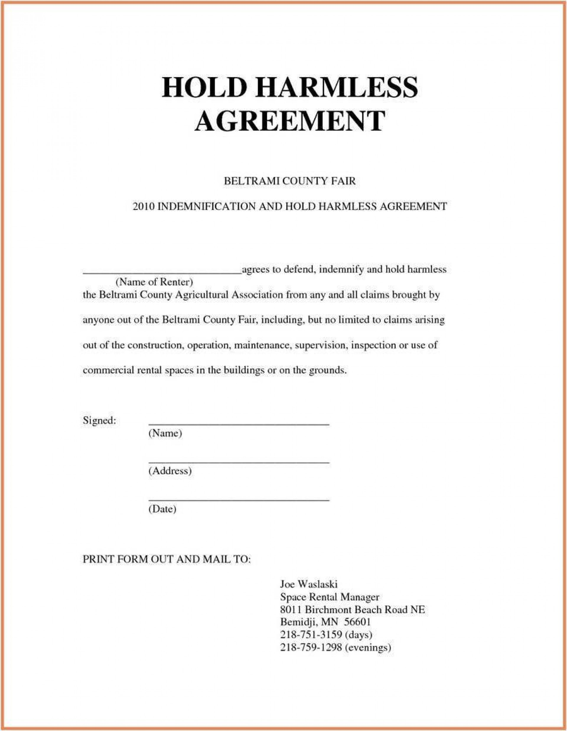007 Dreaded Hold Harmles Agreement Template Design  Canada Word Free Download1920