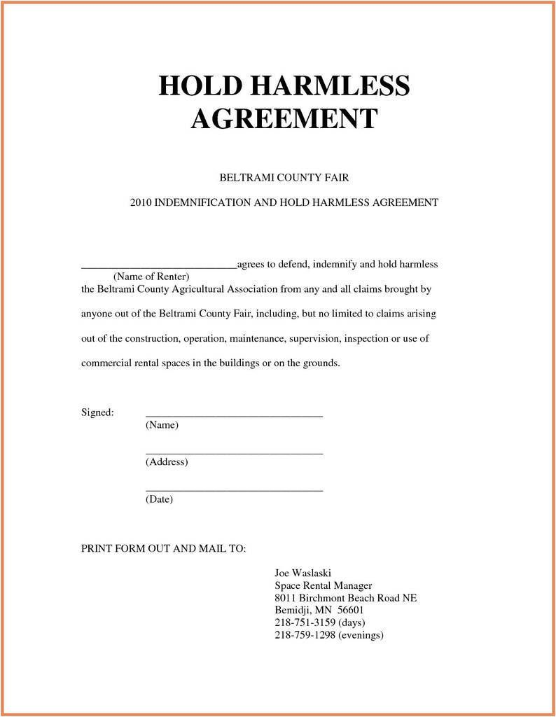 007 Dreaded Hold Harmles Agreement Template Design  Canada Word Free DownloadFull