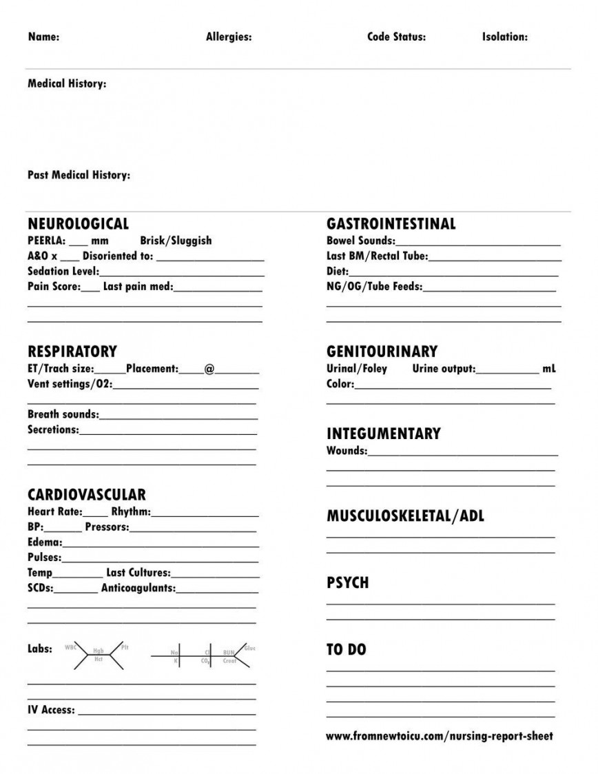 007 Dreaded Icu Rn Report Sheet Template Example  Nursing