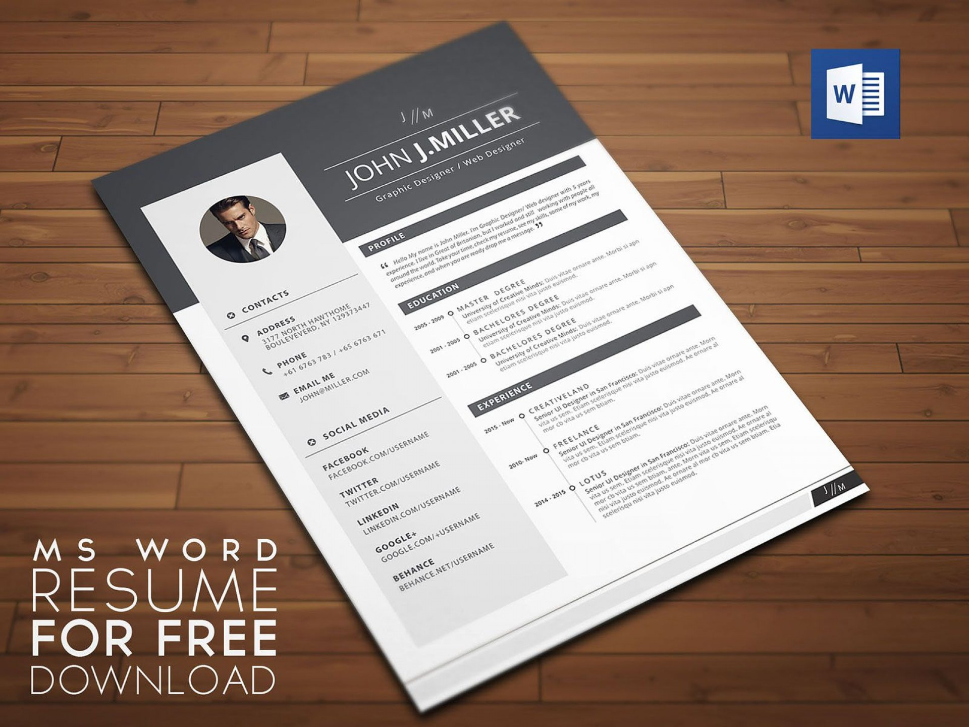 007 Dreaded Microsoft Word Template Download Picture  Free Resume Curriculum Vitae1920
