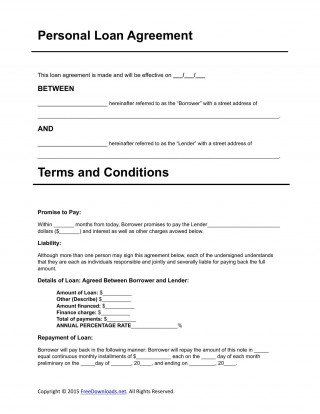 007 Dreaded Personal Loan Agreement Template Idea  Contract Free Word Format South Africa320