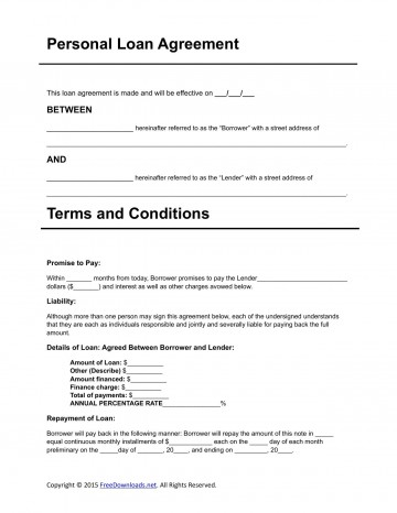 007 Dreaded Personal Loan Agreement Template Idea  Contract Free Word Format South Africa360