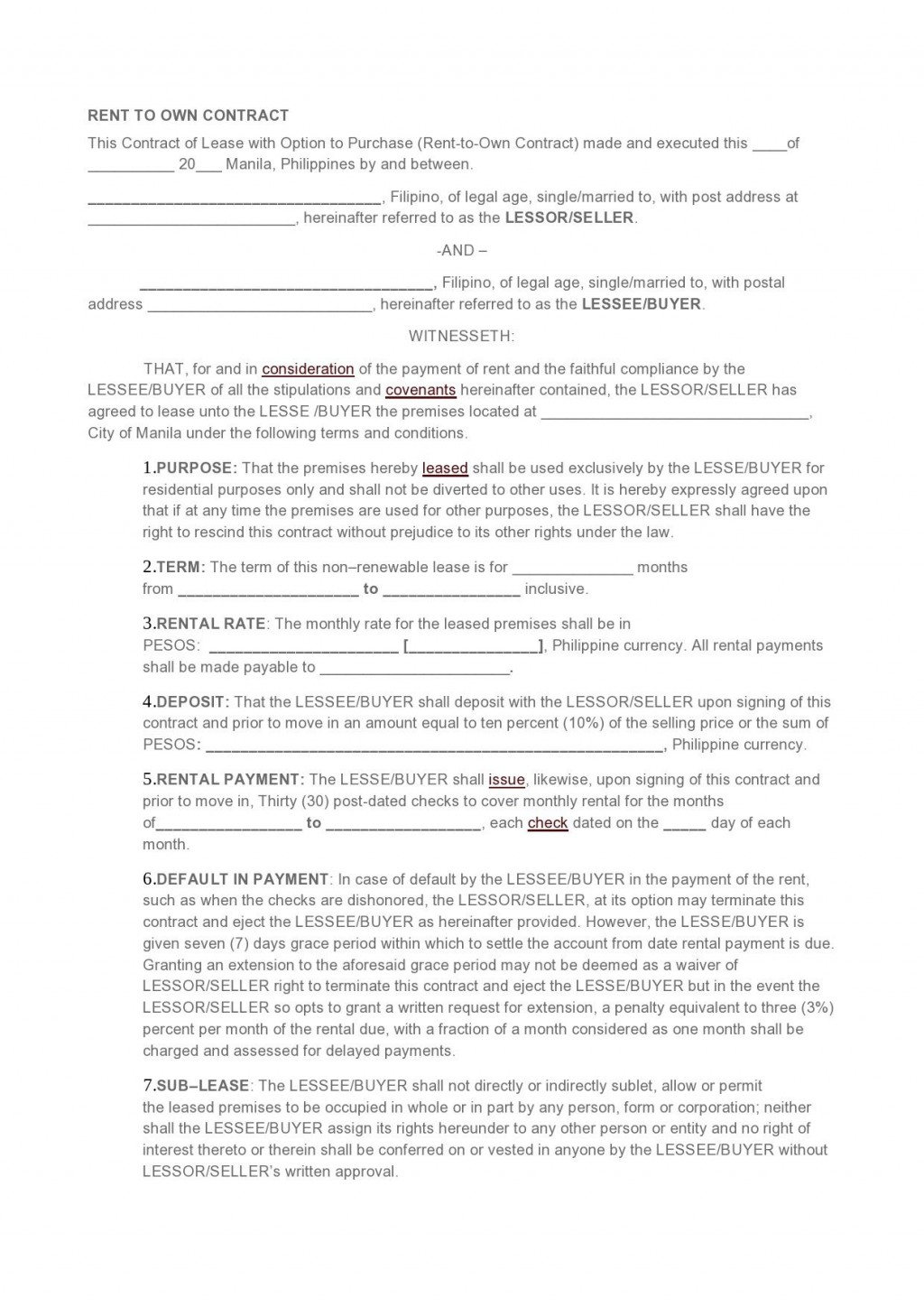 007 Dreaded Rent To Own Contract Template Philippine Picture  Philippines SampleLarge