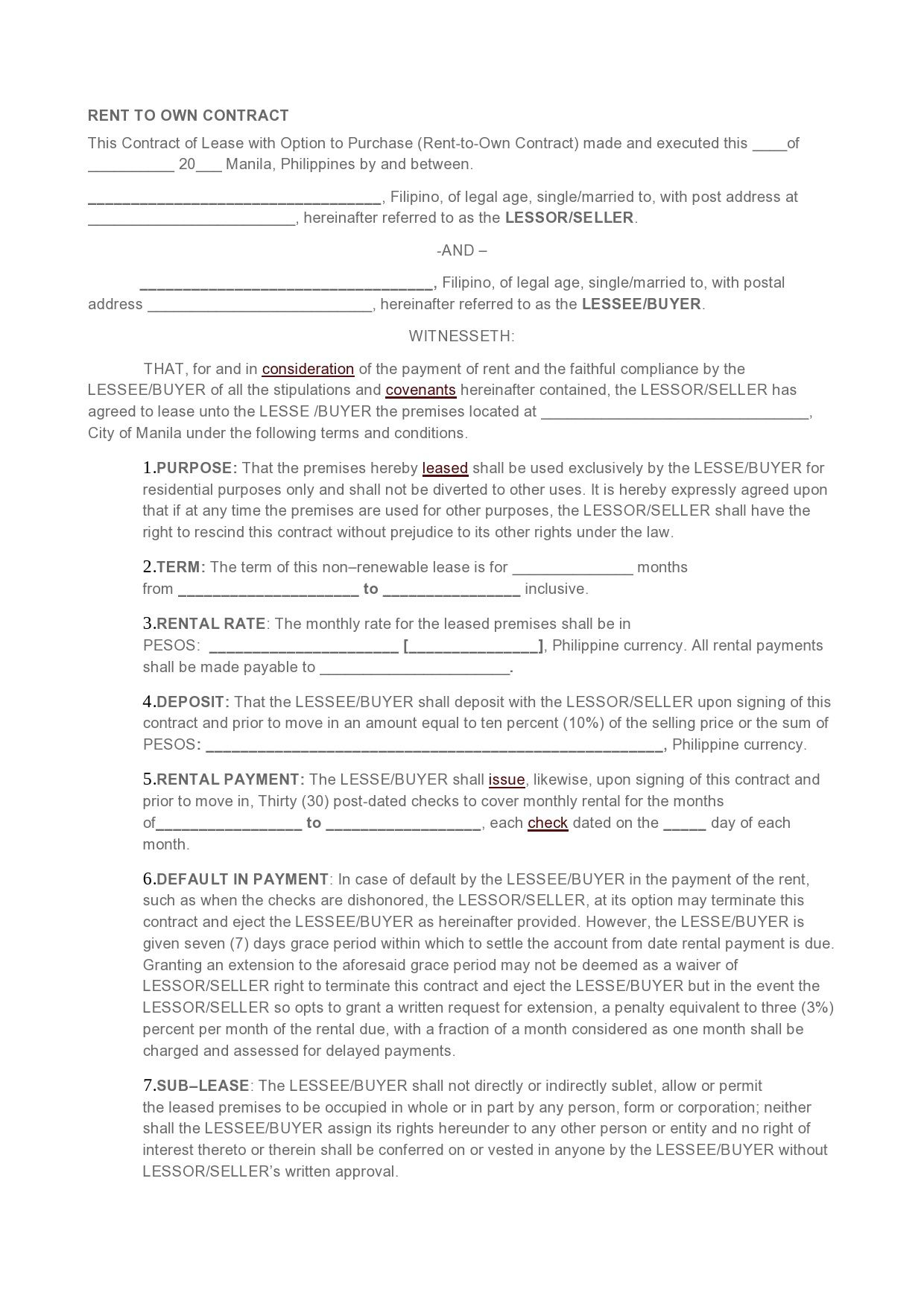 007 Dreaded Rent To Own Contract Template Philippine Picture  Philippines SampleFull