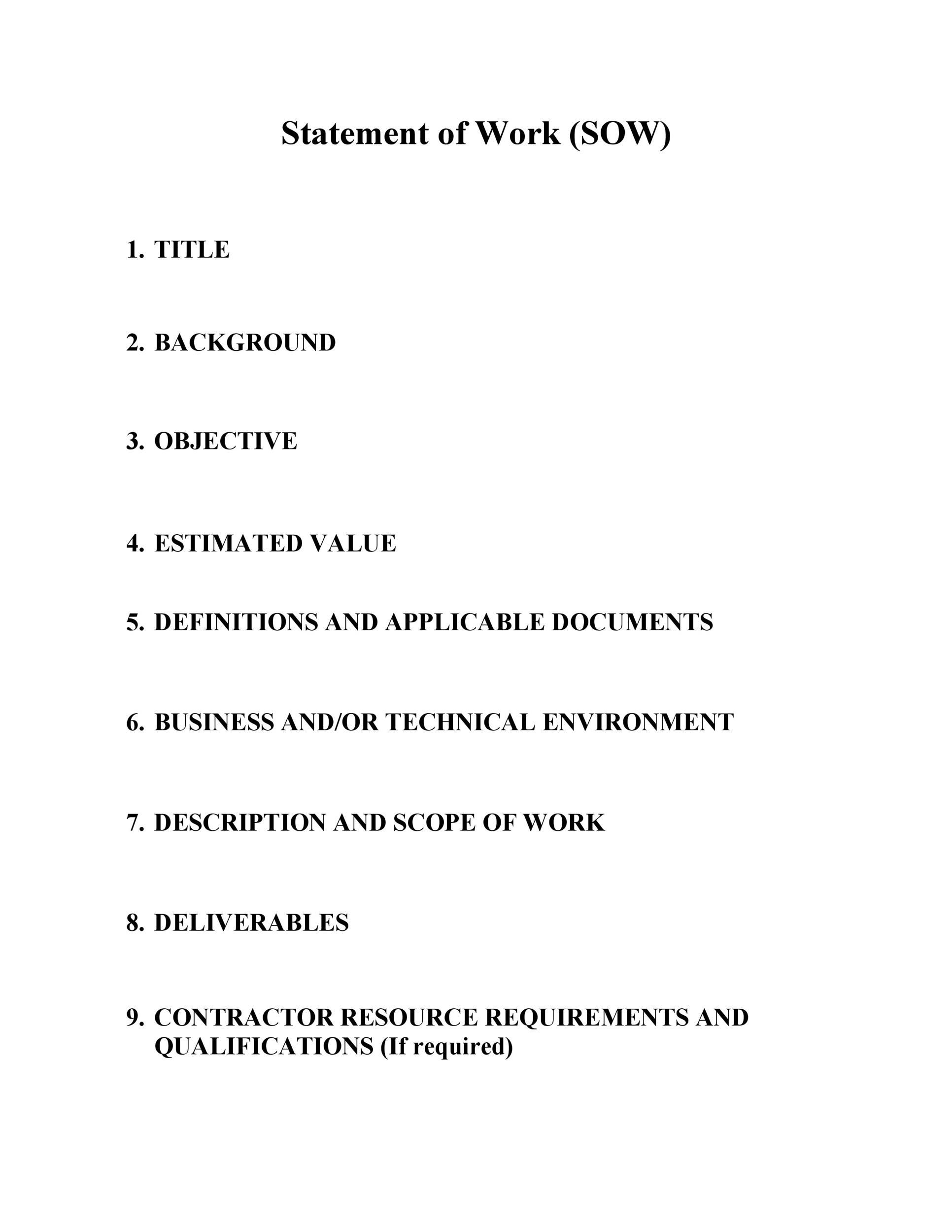 007 Dreaded Simple Statement Of Work Template Word Design Full
