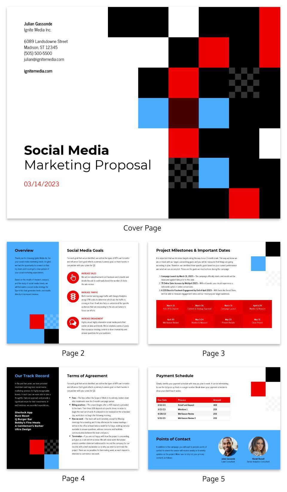 007 Dreaded Social Media Proposal Template High Resolution  Ppt Marketing Word 2019Full
