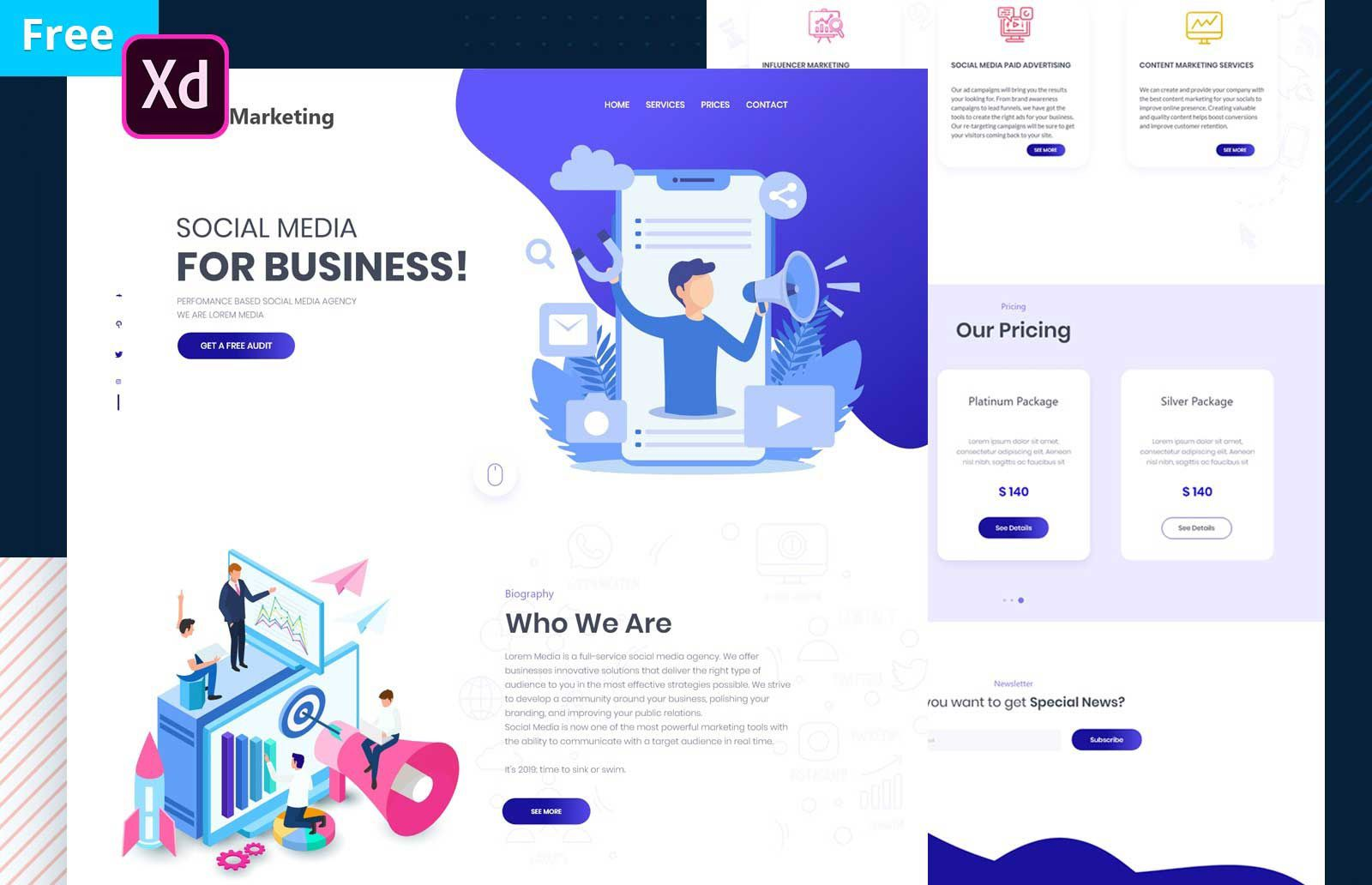 007 Dreaded Social Media Website Template High Resolution  Html WordpresFull