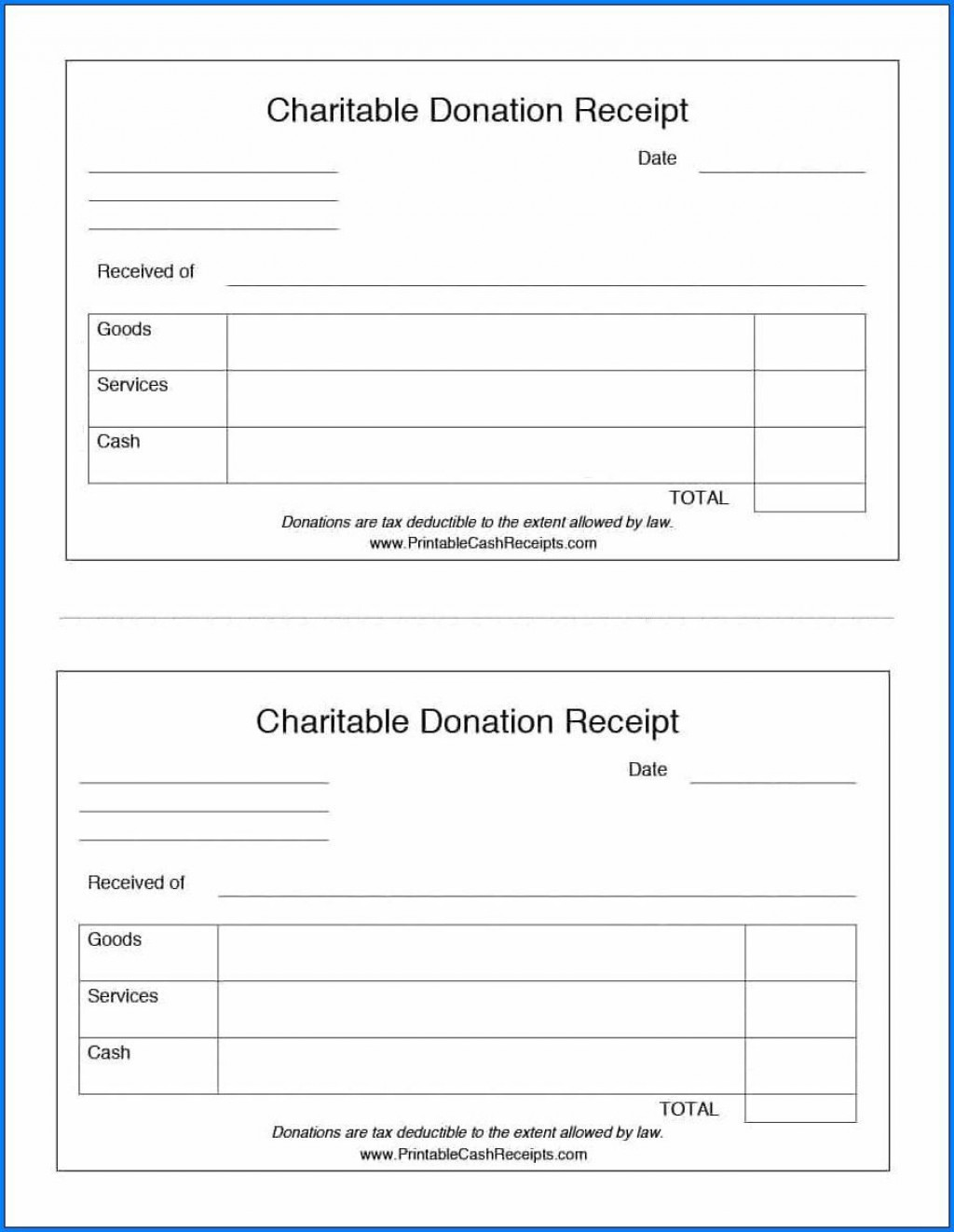 007 Dreaded Tax Deductible Donation Receipt Printable Image Large