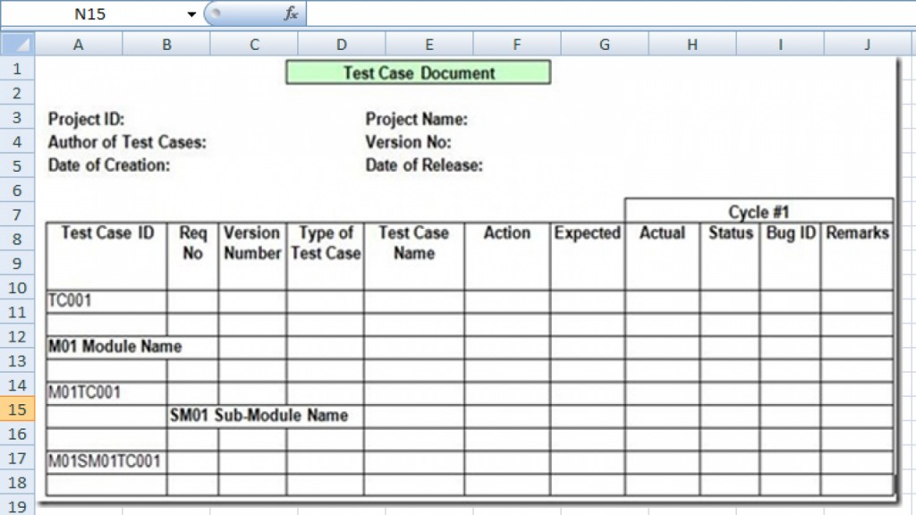 007 Dreaded Test Case Template Xl Photo  Xls Excel Sheet FunctionalLarge