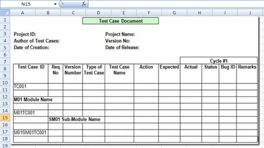 007 Dreaded Test Case Template Xl Photo  Xls Functional Excel Sheet Spreadsheet