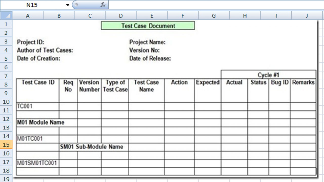 007 Dreaded Test Case Template Xl Photo  Xls Excel Sheet FunctionalFull