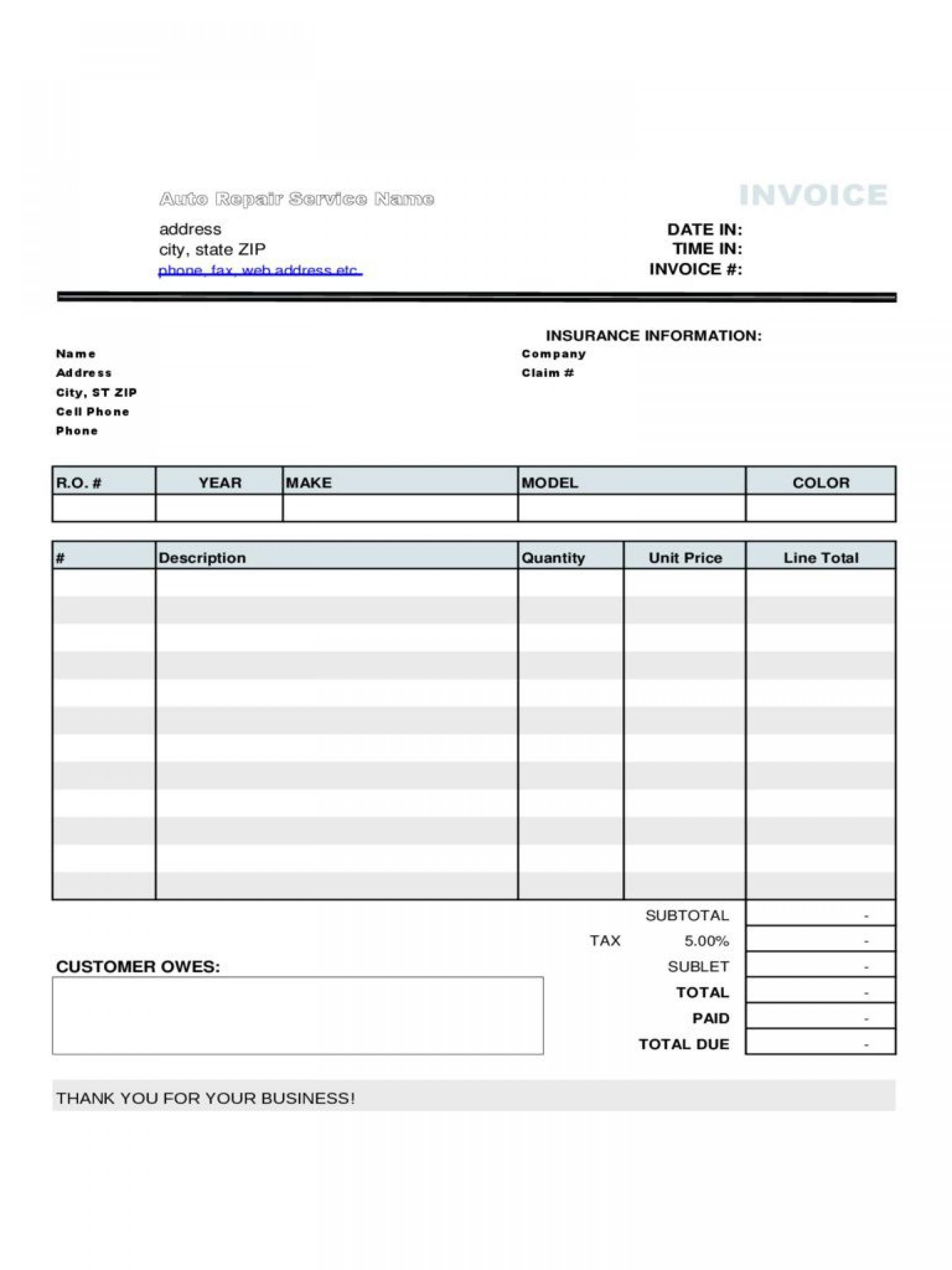 007 Excellent Automotive Repair Invoice Template Design  Free Auto Pdf Car Form1920