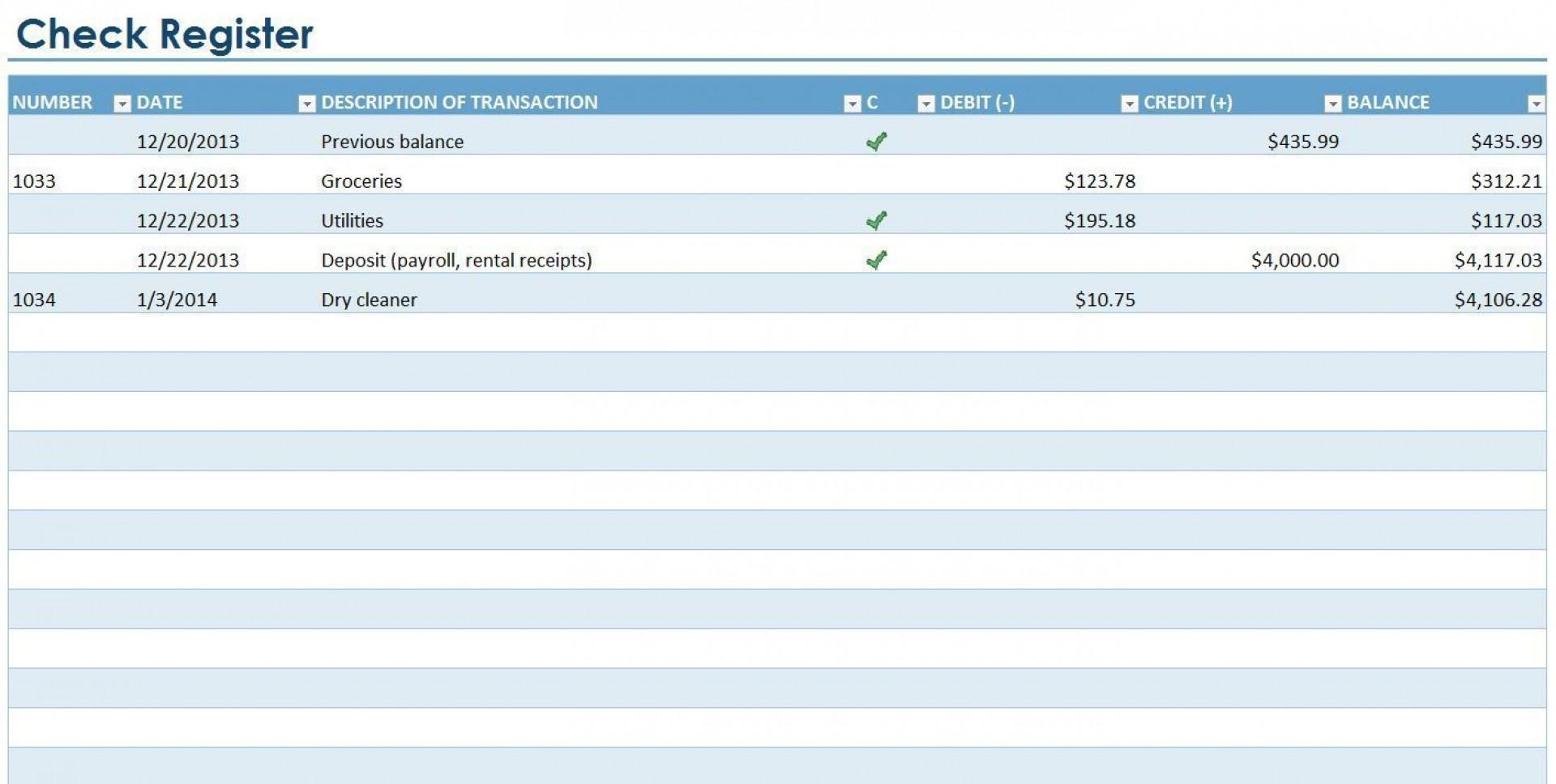 007 Excellent Checkbook Register Template Excel 2013 Highest Quality 1920