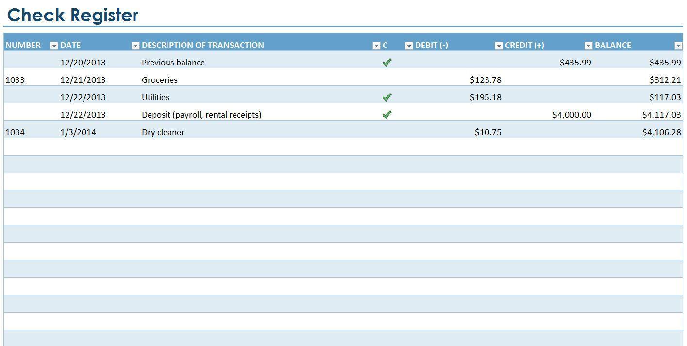 007 Excellent Checkbook Register Template Excel 2013 Highest Quality Full