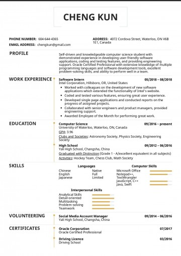 007 Excellent College Graduate Resume Template Highest Clarity  Student Example 2020 New 2018360