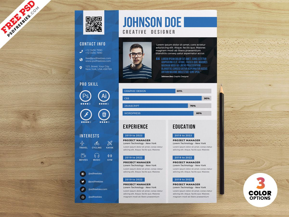 007 Excellent Cv Design Photoshop Template Free Photo  Creative Resume Psd DownloadFull