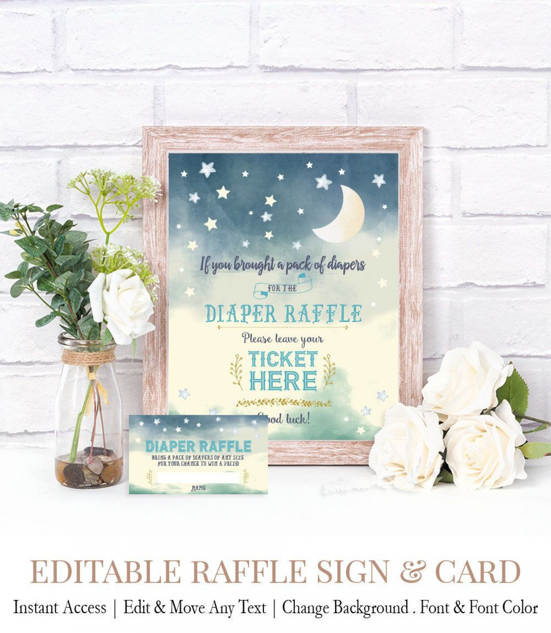 007 Excellent Diaper Raffle Ticket Template Sample  Boy Free Printable Print Black And White1920