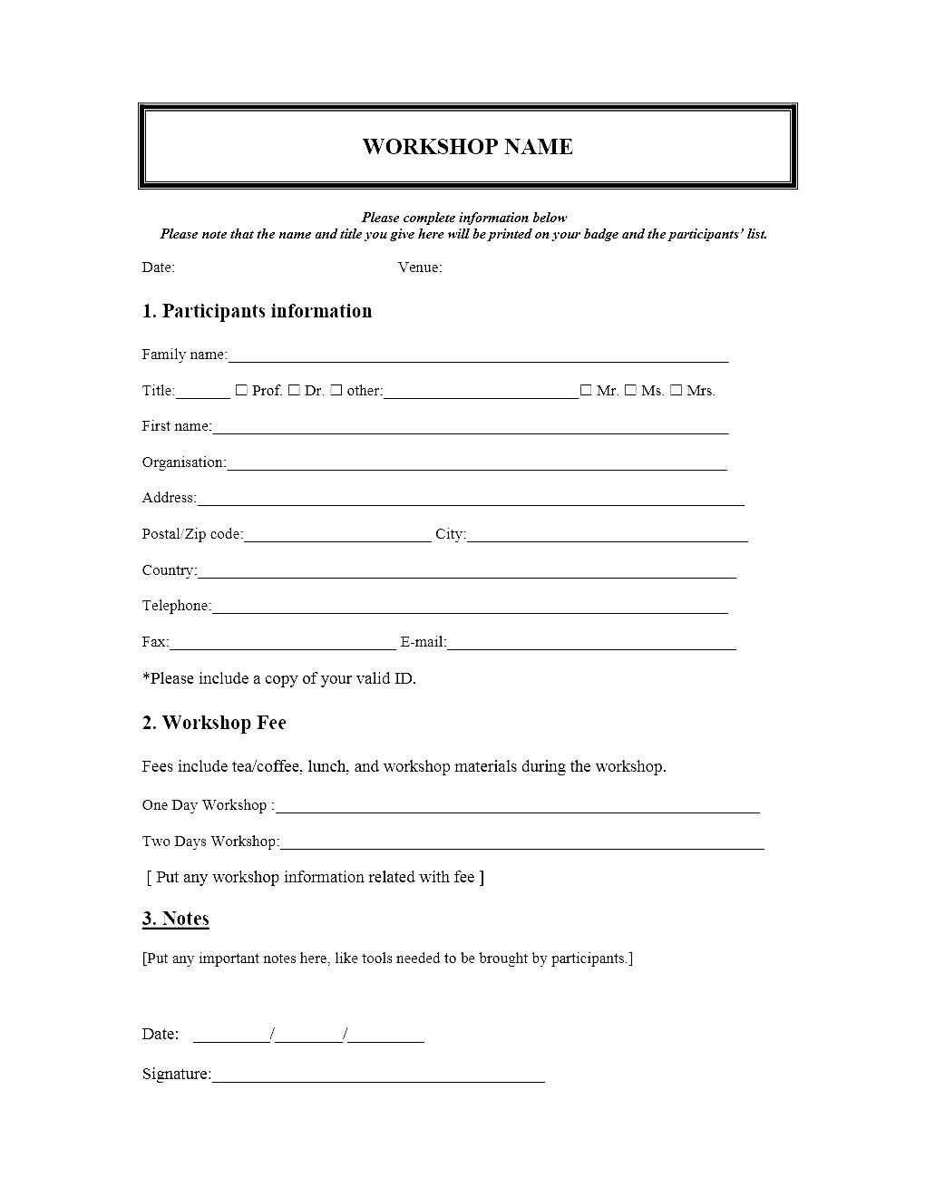 007 Excellent Event Registration Form Template Photo  Word Excel MicrosoftFull