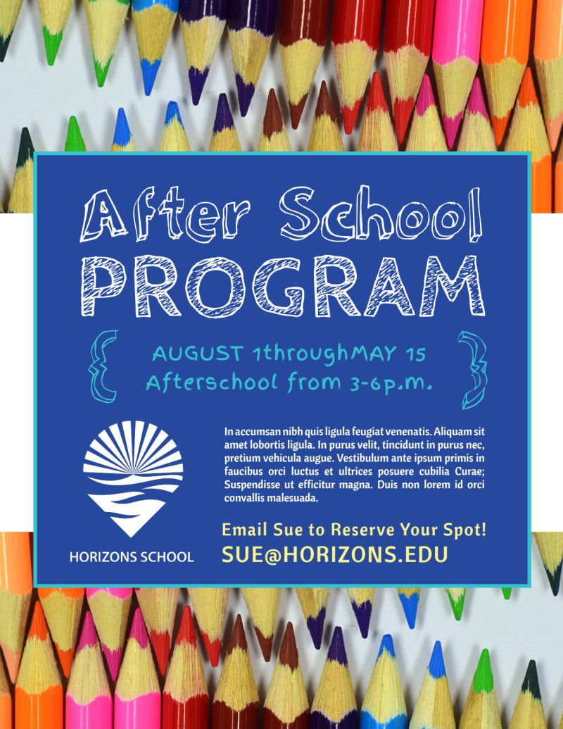 007 Excellent Free After School Program Flyer Template Concept Full