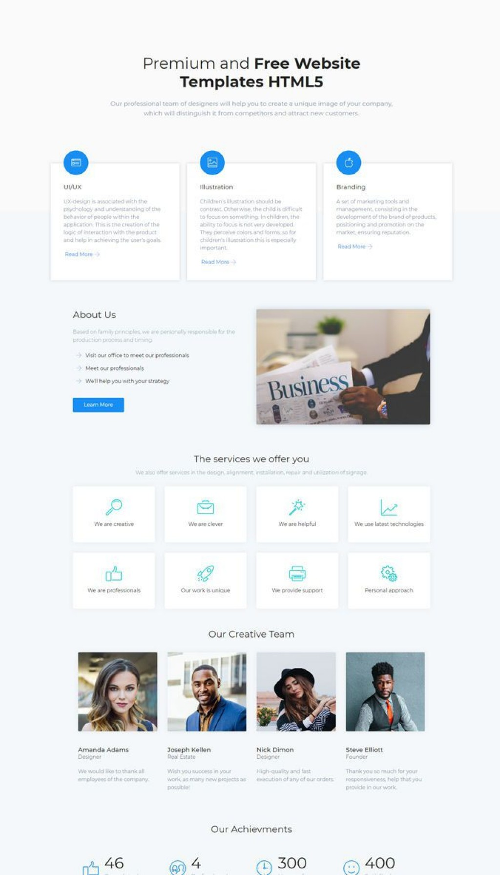 007 Excellent Free Html Responsive Website Template Download High Def  And Cs Jquery For It Company With WebLarge