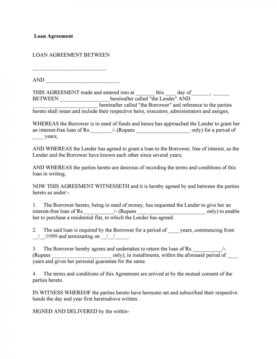 007 Excellent Free Loan Agreement Template Word Picture  Personal Microsoft South Africa960