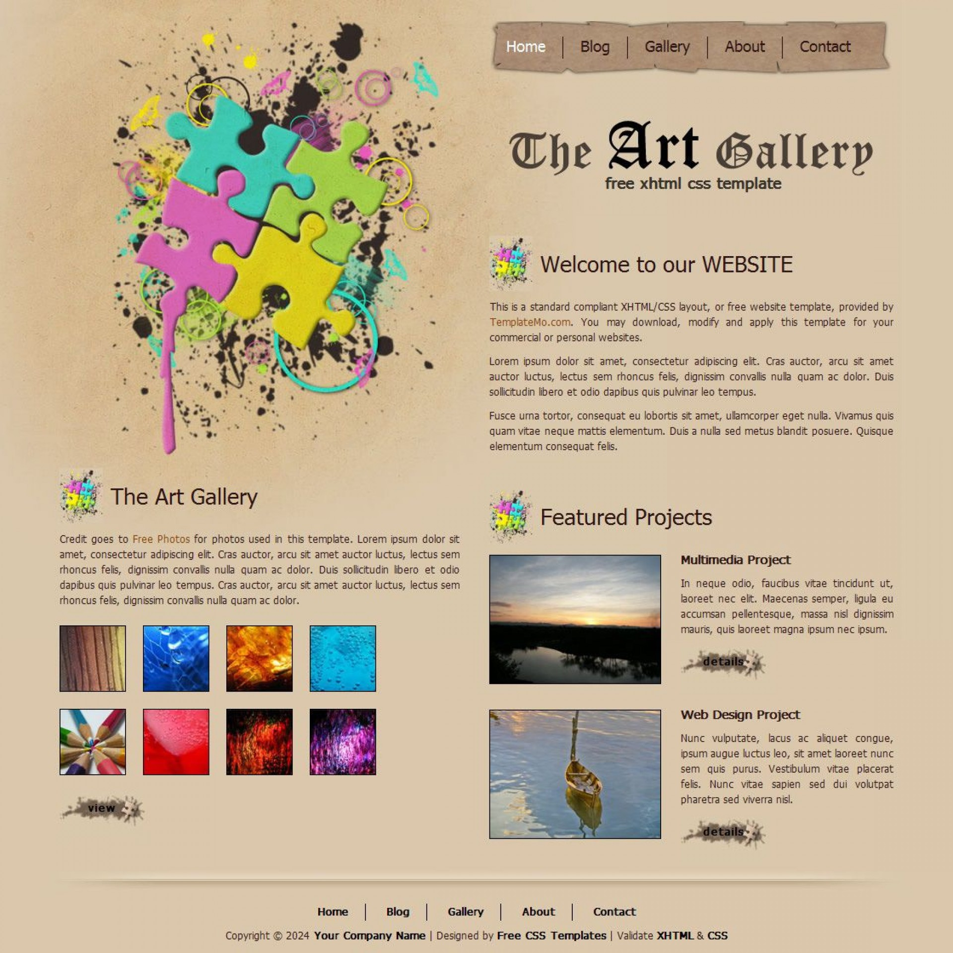 007 Excellent Free Website Template Download Html And Cs For Photo Gallery Idea 1920