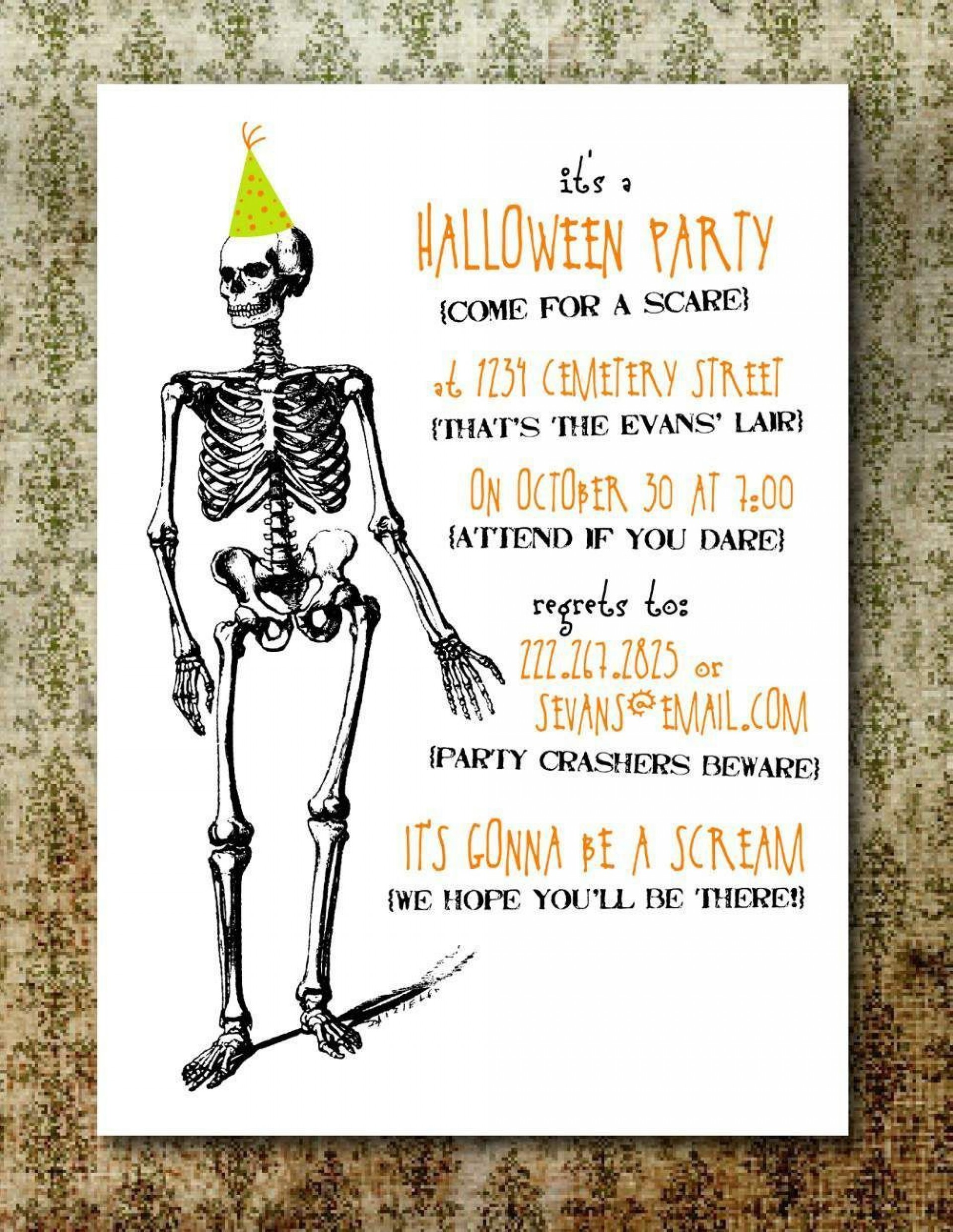 007 Excellent Halloween Party Invite Template Photo  Templates - Free Printable Spooky Invitation Birthday1920