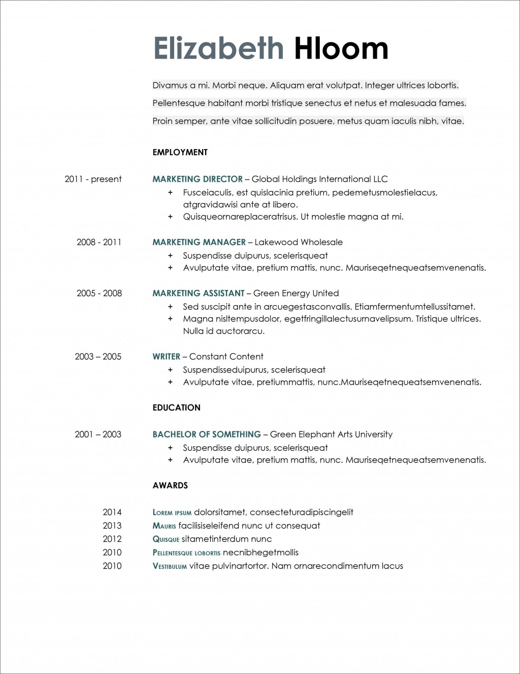 007 Excellent Resume Template Microsoft Word 2020 Sample  FreeLarge