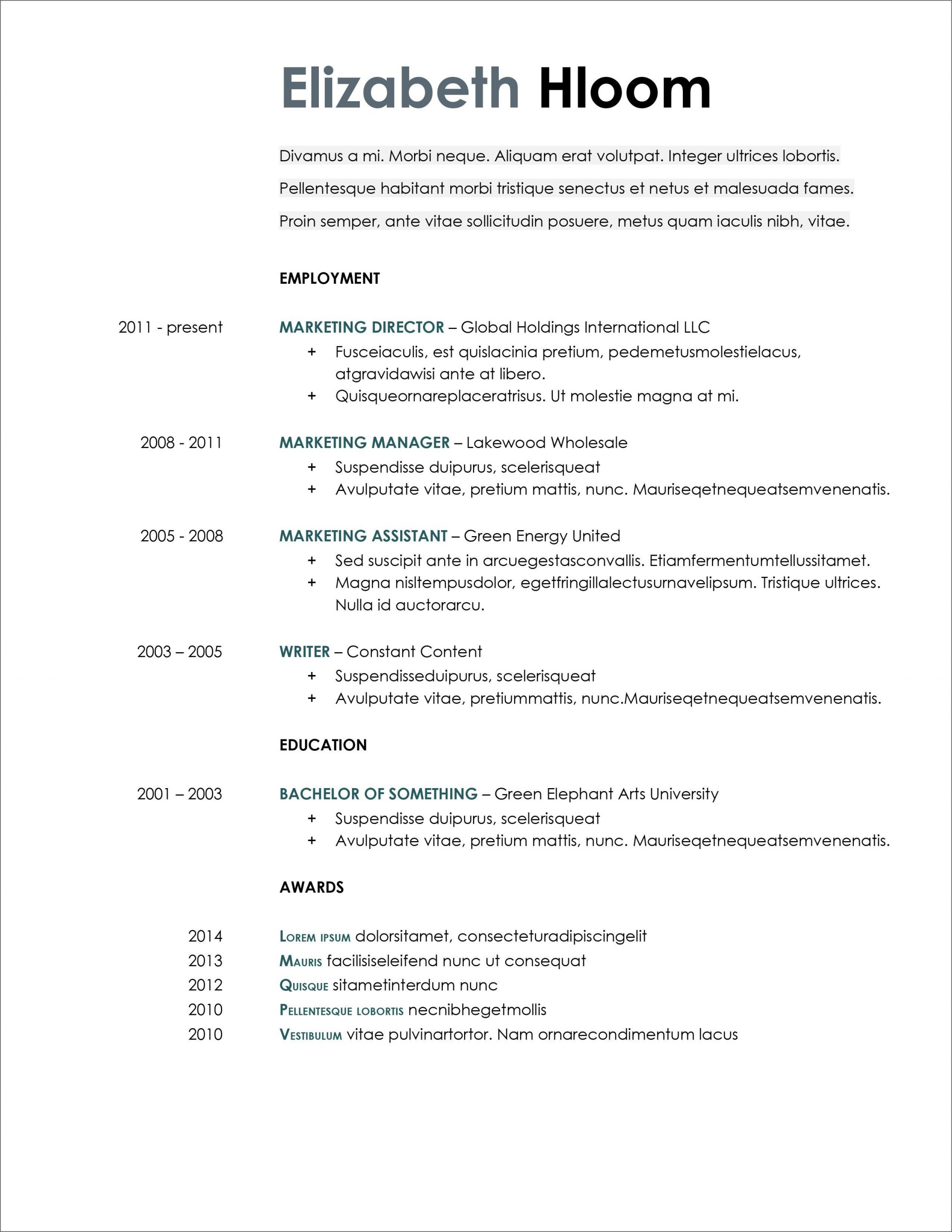 007 Excellent Resume Template Microsoft Word 2020 Sample  Free1920
