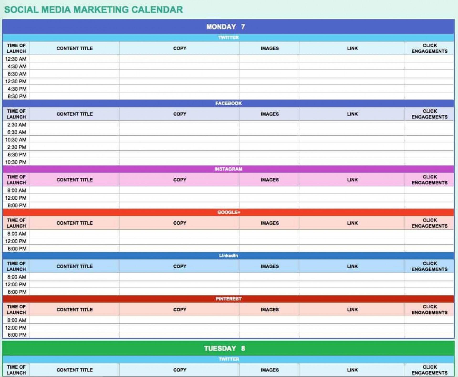 007 Excellent Social Media Editorial Calendar Template Highest Clarity  Content Excel 2020 Free Download1920