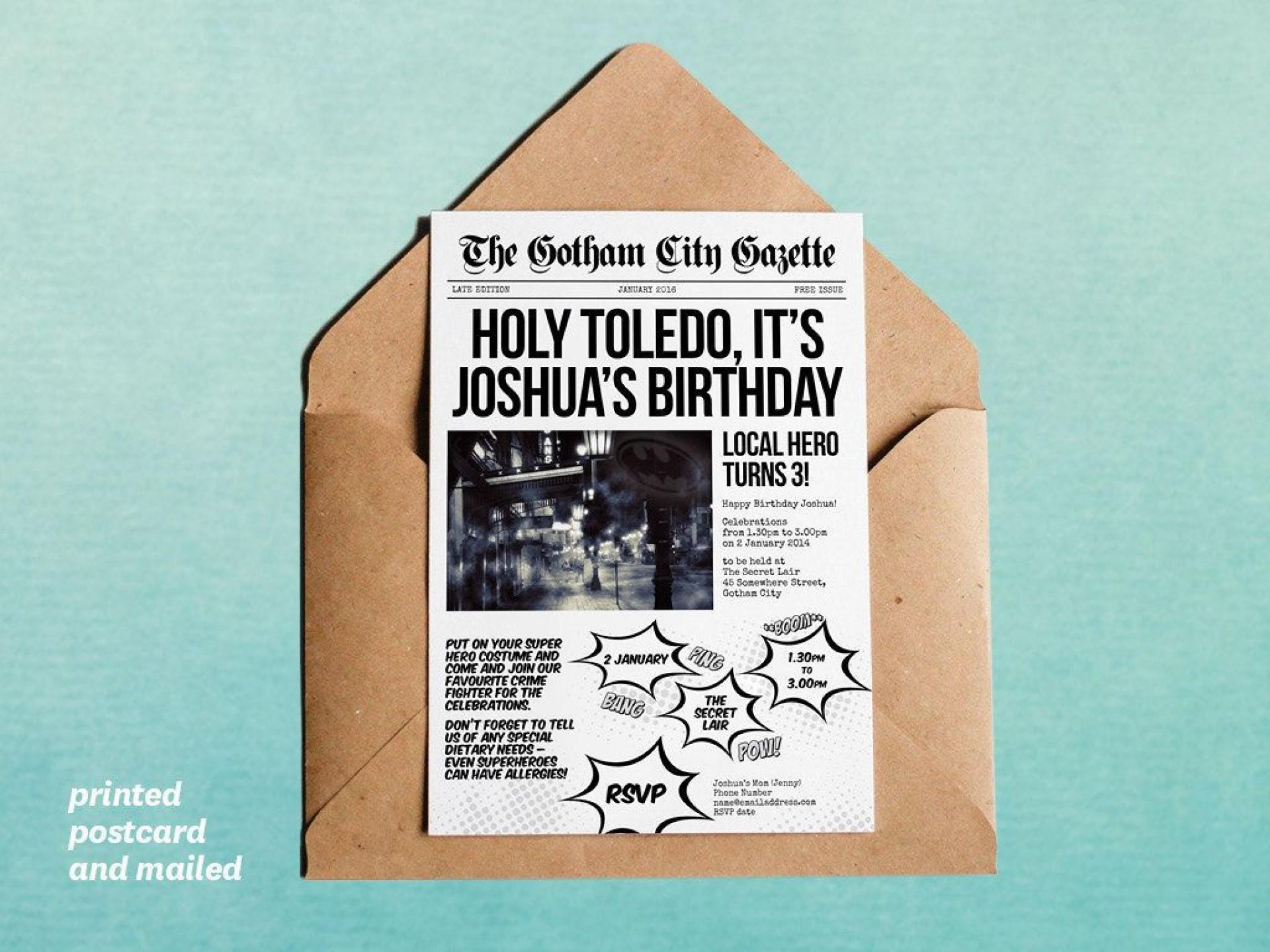 007 Excellent Superhero Newspaper Invitation Template Free Design 1920