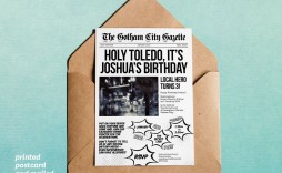 007 Excellent Superhero Newspaper Invitation Template Free Design