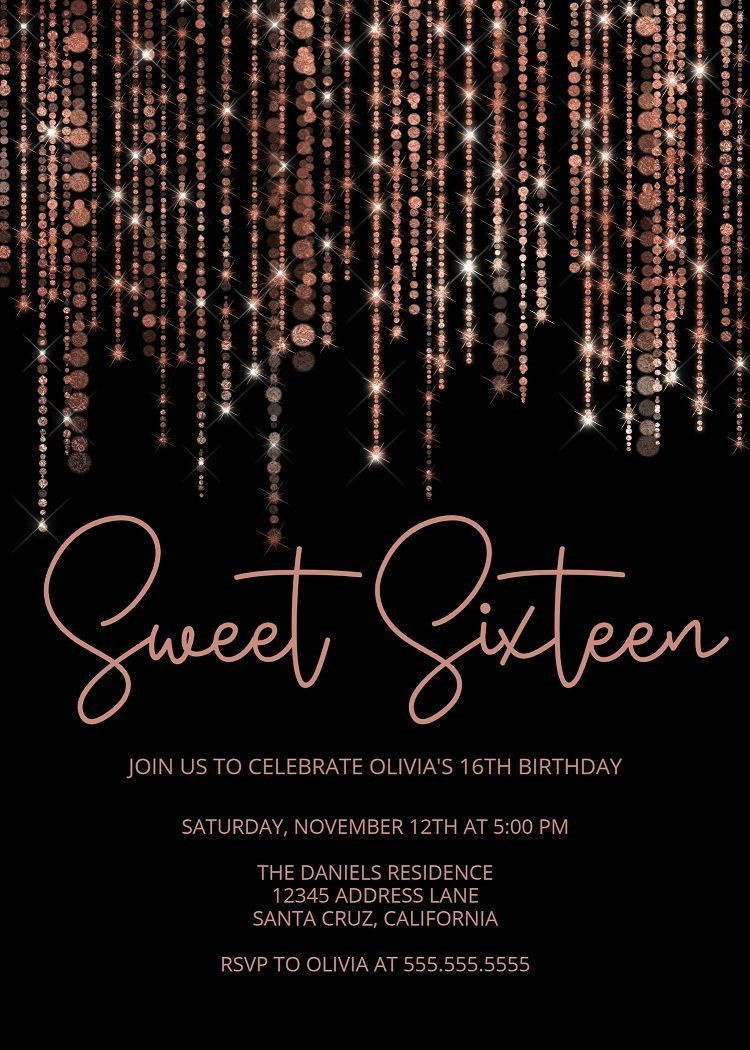 007 Excellent Sweet Sixteen Invitation Template Concept  Templates Blue 16 Party FreeFull