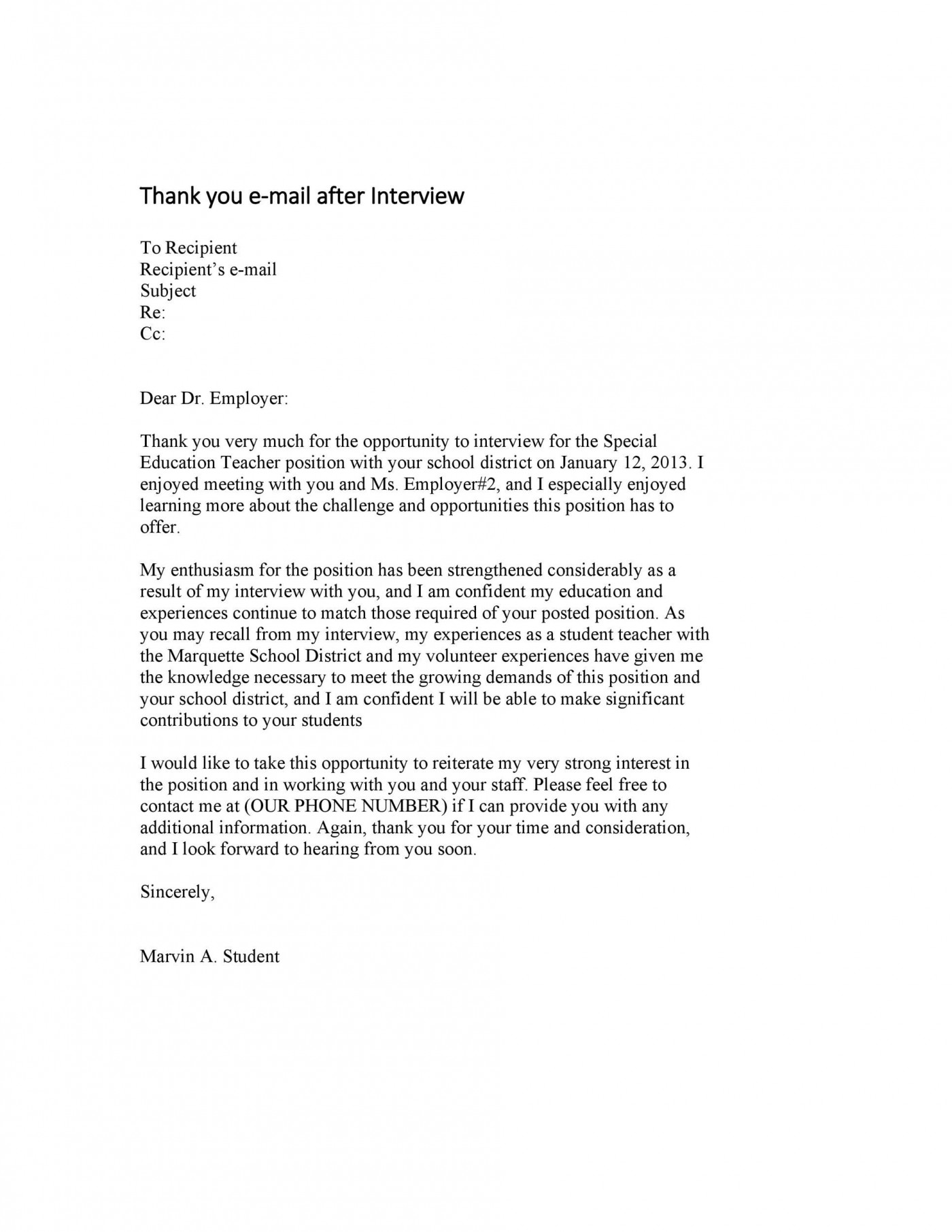 007 Excellent Thank You Note Template For Interview Design  Card Example After Letter Job1400