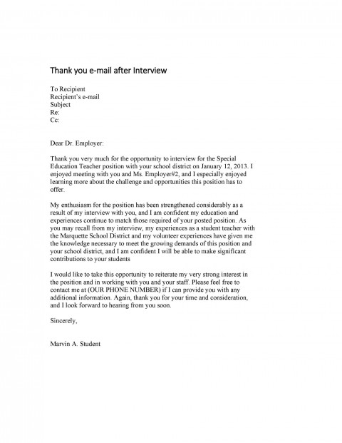 007 Excellent Thank You Note Template For Interview Design  Card Example After Letter Job480