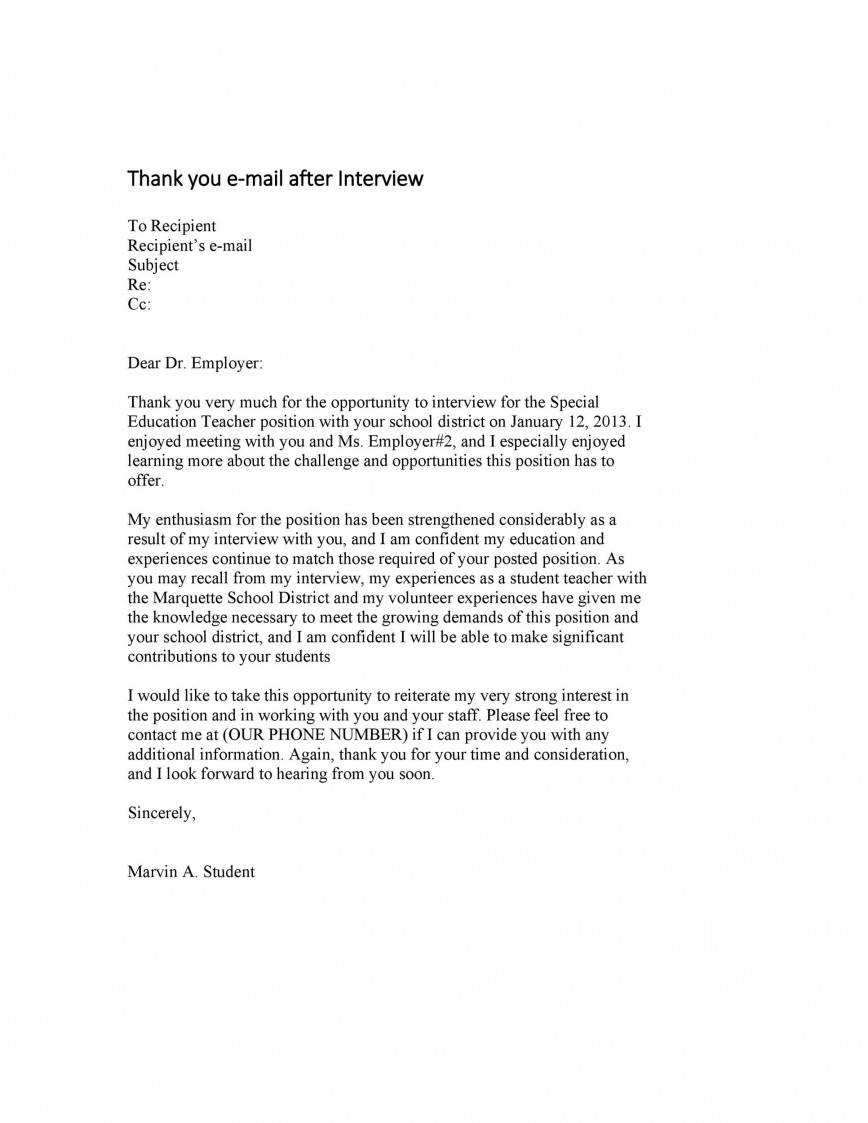 007 Excellent Thank You Note Template For Interview Design  Card Example After Letter Job868