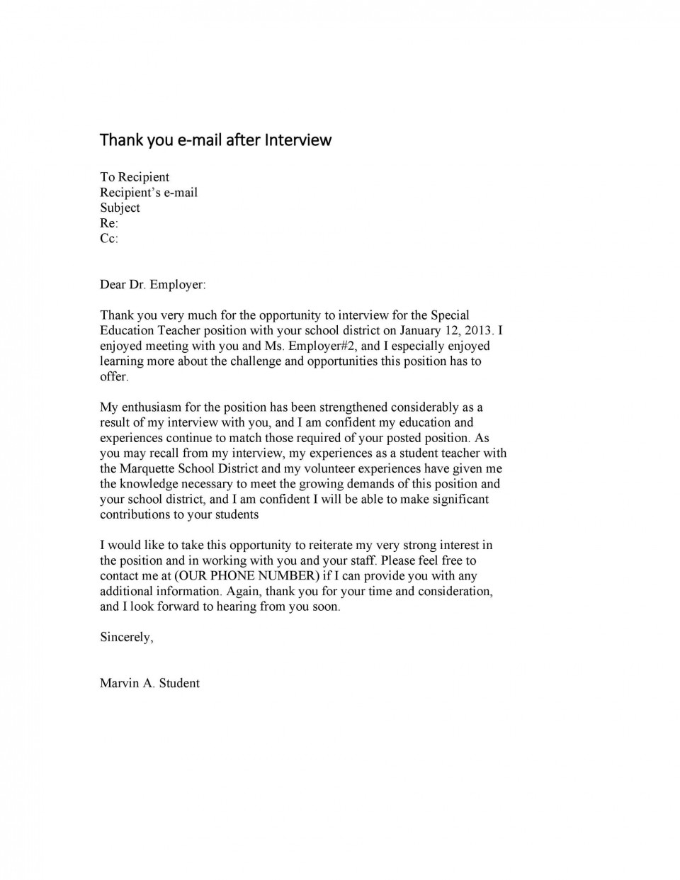 007 Excellent Thank You Note Template For Interview Design  Card Example After Letter Job960
