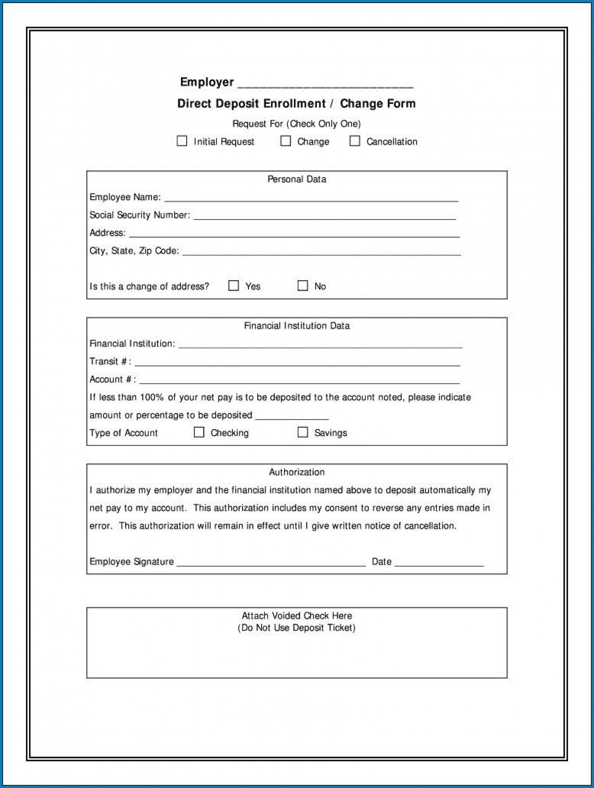 007 Exceptional Direct Deposit Cancellation Form Template Highest Quality  Authorization Canada Word Payroll1920