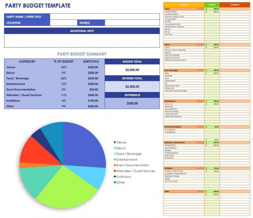 007 Exceptional Event Planner Budget Template Excel Inspiration  Party Planning Spreadsheet868