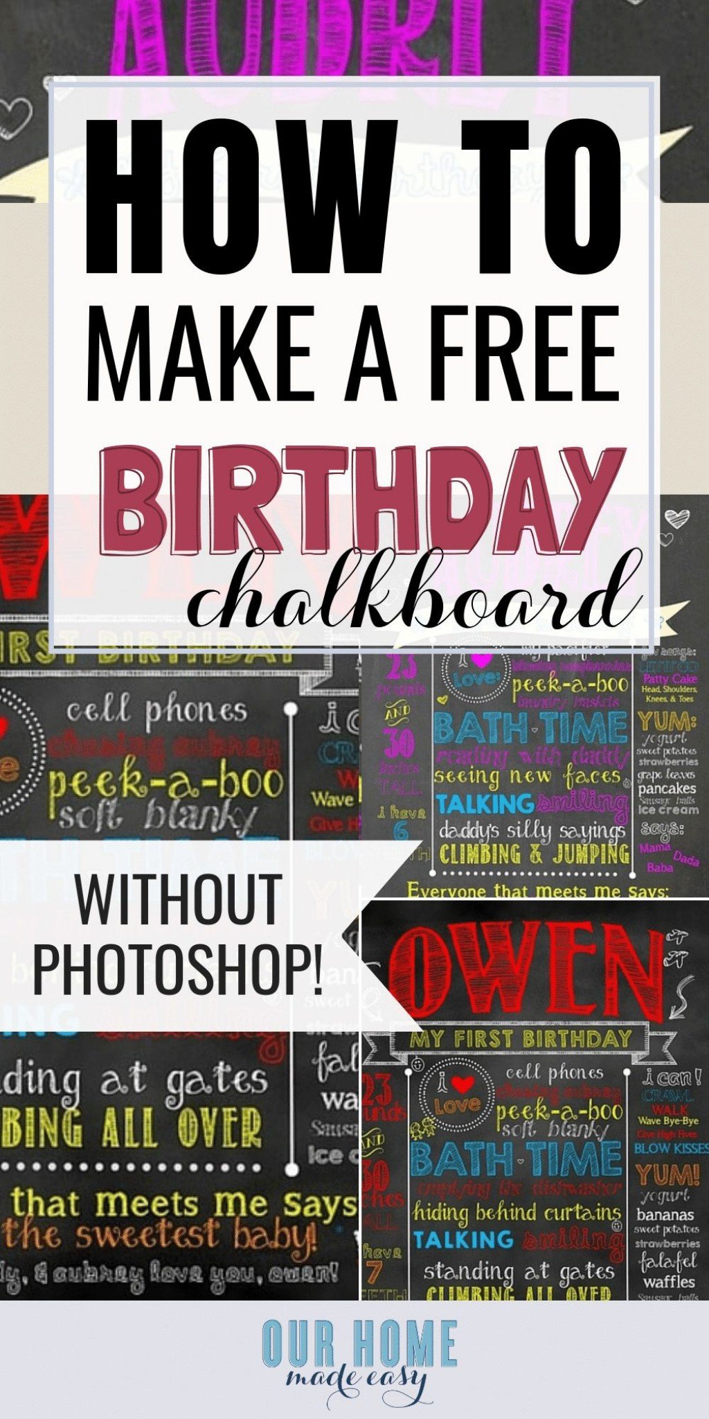 007 Exceptional Free Birthday Chalkboard Template Highest Clarity  First Printable BabyLarge