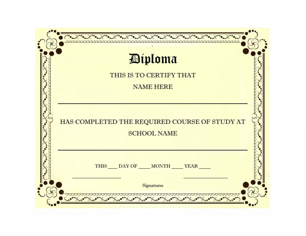 007 Exceptional Free Printable High School Diploma Online Picture Large