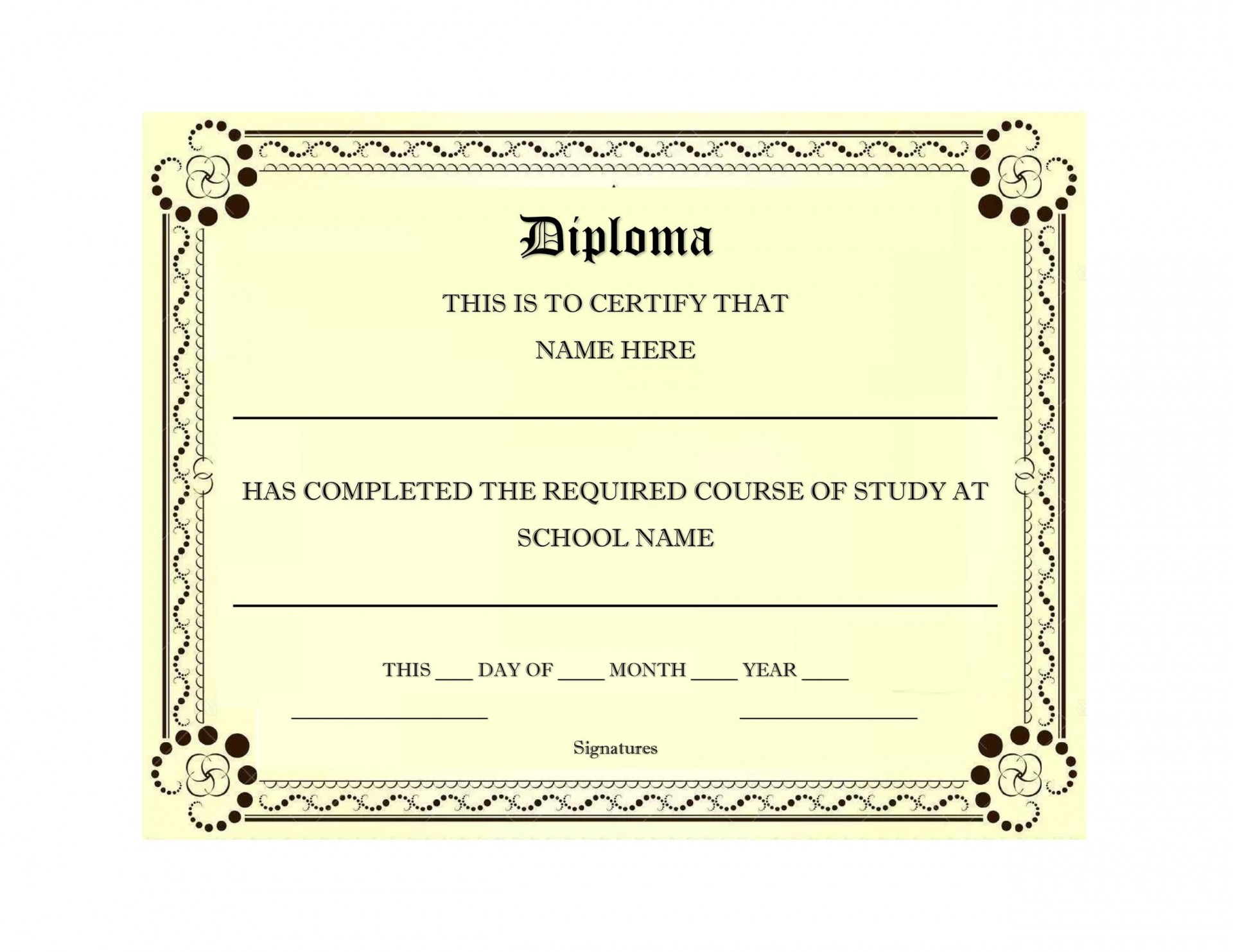 007 Exceptional Free Printable High School Diploma Online Picture 1920