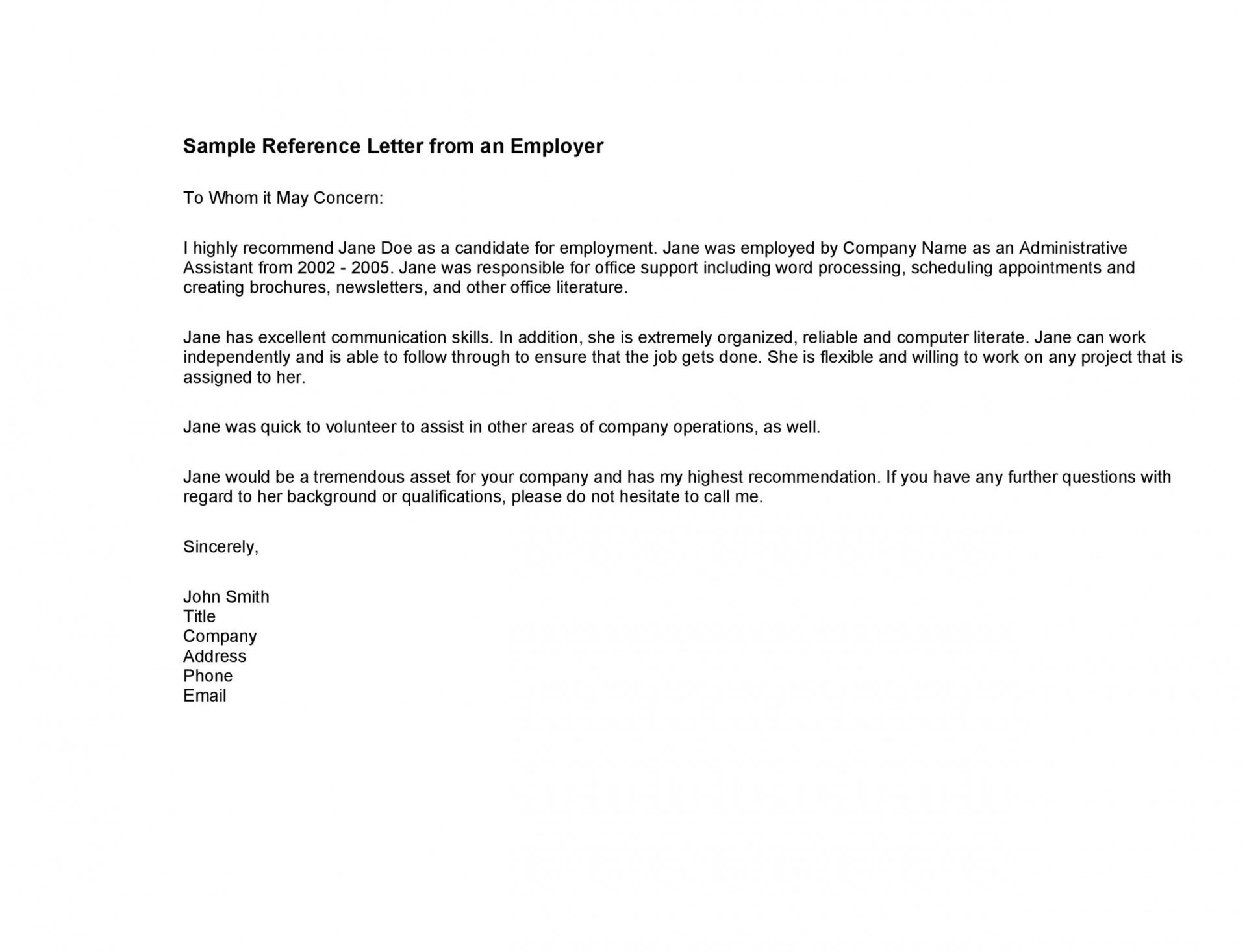 007 Exceptional Free Reference Letter Template For Employment Example  Word1920