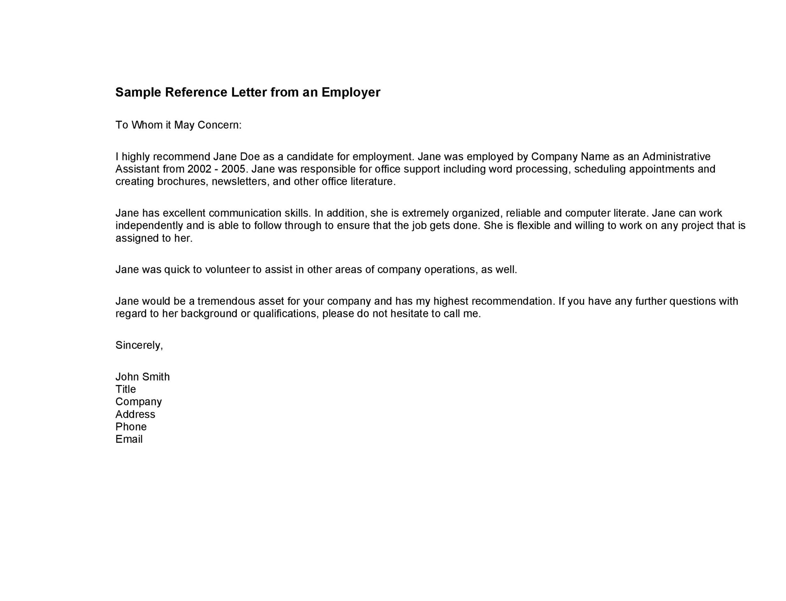 007 Exceptional Free Reference Letter Template For Employment Example  WordFull