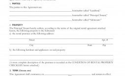 007 Exceptional Free Sublease Agreement Template Pdf Highest Quality  Room Rental Car Form Residential Lease