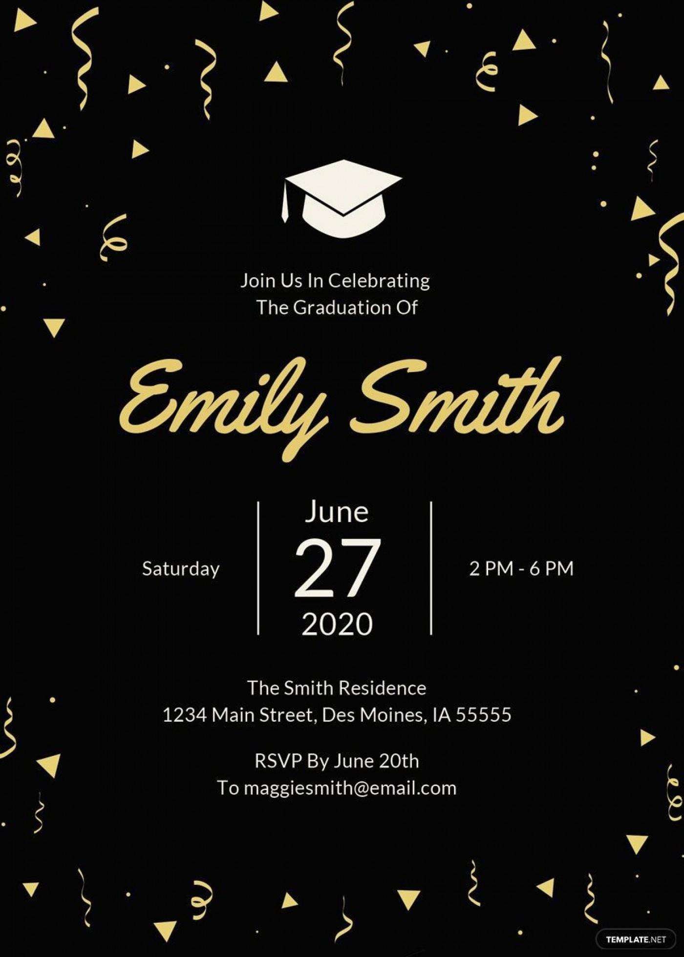 007 Exceptional Microsoft Word Graduation Party Invitation Template Example 1400