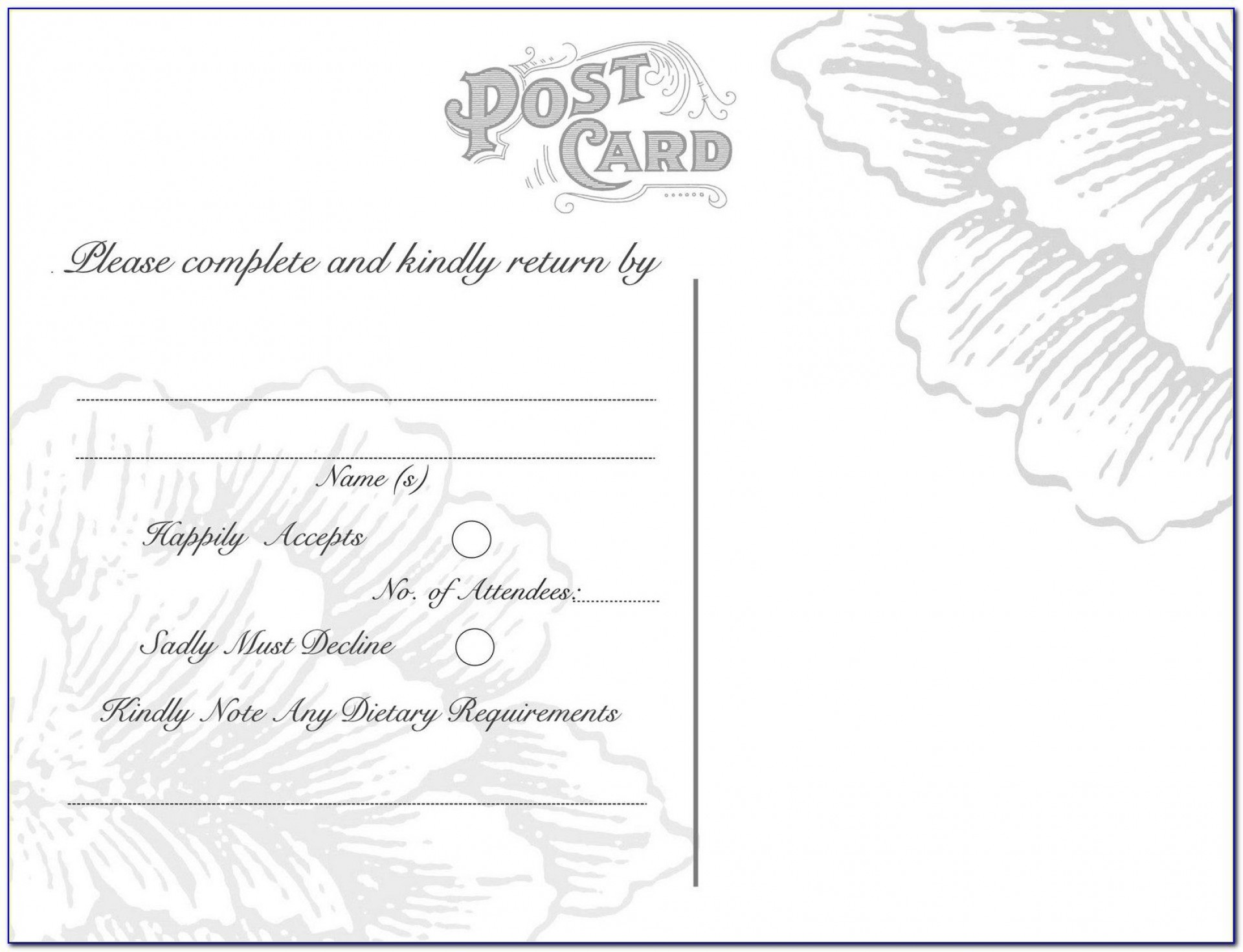 007 Exceptional Rsvp Postcard Template For Word Example 1920