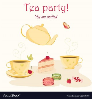 007 Exceptional Tea Party Invitation Template Photo  Wording Vintage Free Sample320