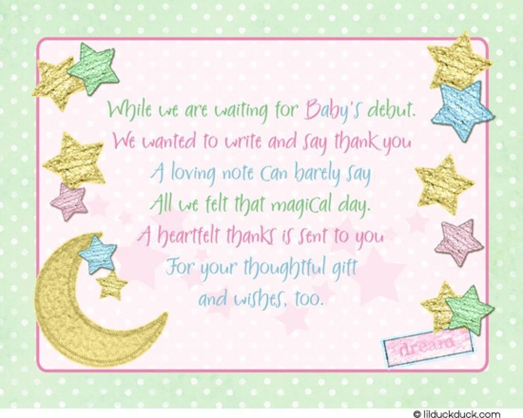 007 Exceptional Thank You Note Wording Baby Shower Sample  For Hosting CardLarge